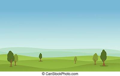 Vector flat of hill green landscape