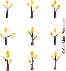 Vector flat of tree various set
