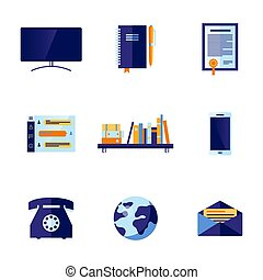 Vector flat office and communication icon set - Office...