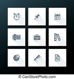Vector flat office icon set