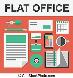 Vector flat office set