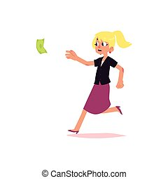 vector flat office worker woman running for money