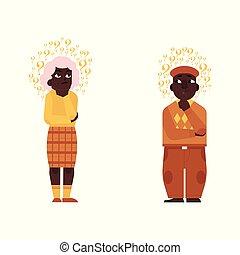 Vector flat old elderly black man, woman thinking