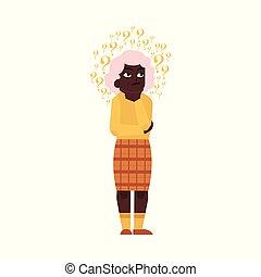 Vector flat old elderly black woman thinking