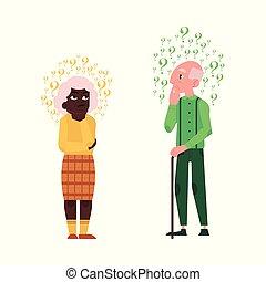 Vector flat old elderly man, black woman thinking