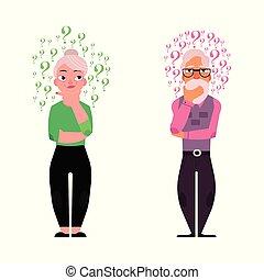 Vector flat old elderly man, woman thinking