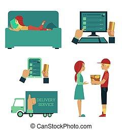 Vector flat online shopping concept scenes set