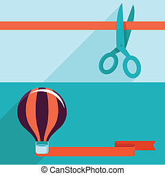 Vector flat opening and launching concept - Vector opening...