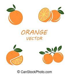 Vector flat orange icons set