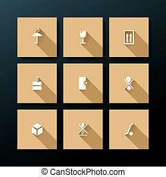 Vector flat packaging icon set