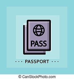 Vector flat passport icon