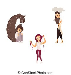 vector flat people suffering from mental illness set