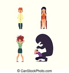 vector flat people suffering from mental illness