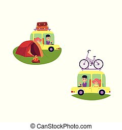 vector flat people travelling in car isolated set