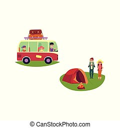 vector flat people travelling in car isolated