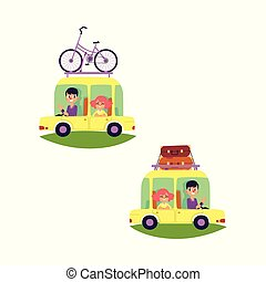 vector flat people travelling in car set isolated
