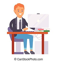 Vector flat people work place business worker person working on laptop at the table in office coworker businessman character workplace computer illustration