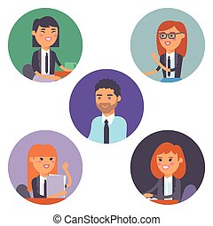 Vector flat people work place business worker person working on laptop at the table in office coworker businesswoman and businessman character workplace computer illustration