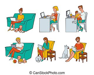 Vector flat people working from home, remote work - Vector ...