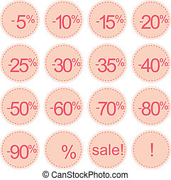 Vector flat pink sale icon set - Retro stylized, pink sale...