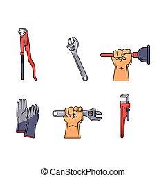 vector flat plumbing tools, equipment set