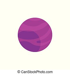 Vector flat purple planet icon - Purple planet with winds...