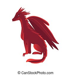 vector flat red colored dragon with wings, horns