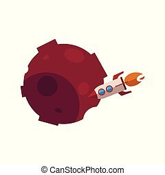 Vector flat red meteor, satellite, planet craters - Red...