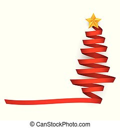 Vector flat red ribbon christmas tree with star