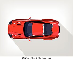 Vector flat red sport car