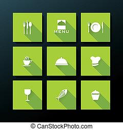 Vector flat restaurant icon set