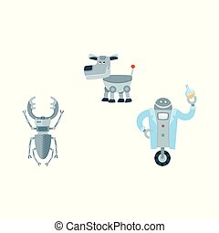 vector flat robots set isolated