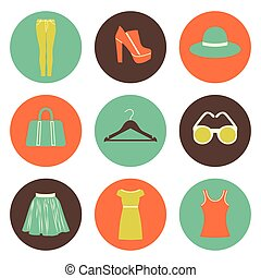 vector flat round fashion icons set of nine elements