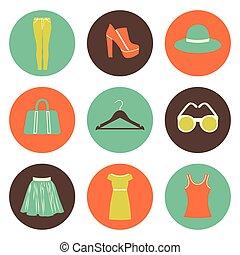 vector flat round fashion icons set of nine elements