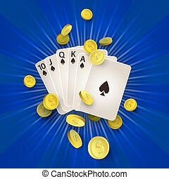 vector flat Royal Flush in spades, golden coins