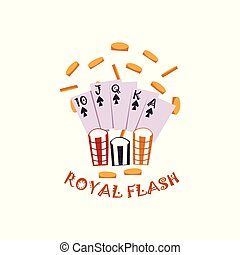 vector flat Royal Flush in spades, rain of coins