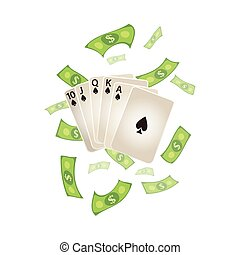 vector flat Royal Flush in spades, rain of dollar