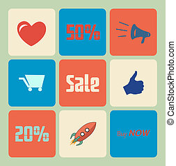 Vector Flat Sale Icons