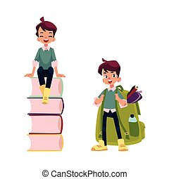 vector flat schoolboy character set isolated