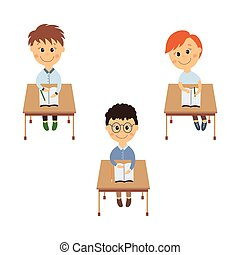 vector flat schoolboy sitting at desk set isolated