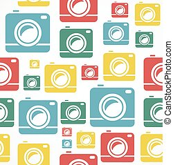 Vector Flat seamless photo camera pattern