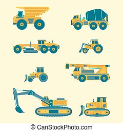 Vector flat set of construction vehicles icons. Road engineering images. Industrial machinery symbols.