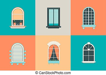Vector flat set of icons for windows with pane. Rectangle...