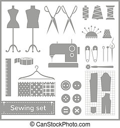 Vector flat sewing icons set - Set of flat vector icons with...