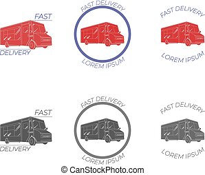 VECTOR Flat Shipping Delivery, Food Truck Icons Set, Logo Templates Set.