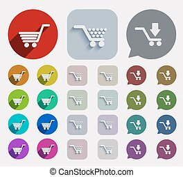 Vector flat shopping icons set.