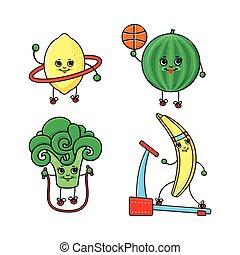 vector flat sketch fruits, vegetables doing sport