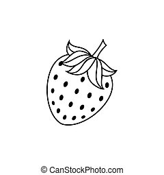 vector flat sketch style black and white contour strawberry