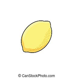 vector flat sketch style yellow fresh ripe limon - vector ...