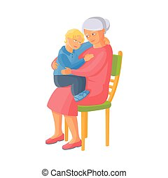 vector flat small boy sitting at grandmother knees